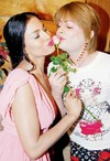 Veena strikes a kissing pose with Bobby Darling!