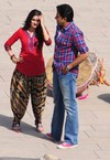 Abhishek and Prachi - On the Sets of 'Bol Bachchan' Movie